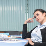business woman thinking about new project in meeting room, work plan concept